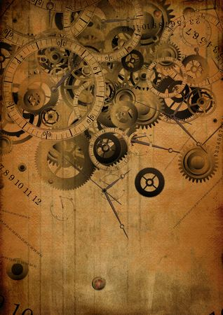 antique background: Collage of clocks on vintage background Stock Photo