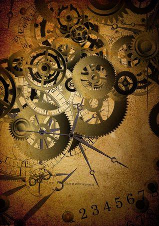 Collage of clocks on vintage texture Stock Photo