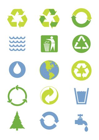 Green and blue environmental icons Stock Photo - 4779191