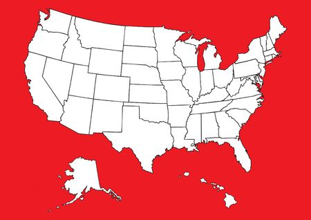 Map of US with flag photo