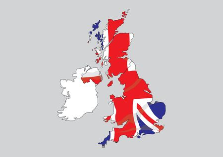 Map of Great Britain and Ireland Stock Photo