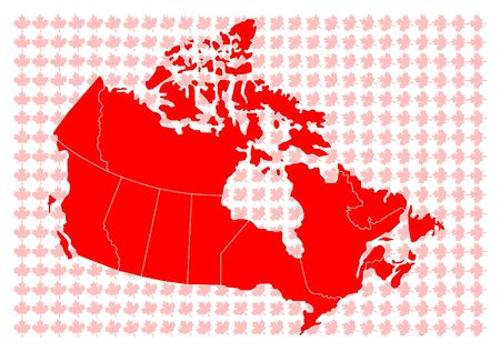 Vector map of Canada with flag photo