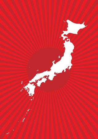 Map of Japan with burst background photo