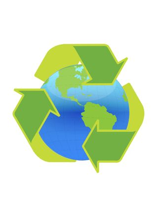 superimpose: Recycle symbol surrounding the globe