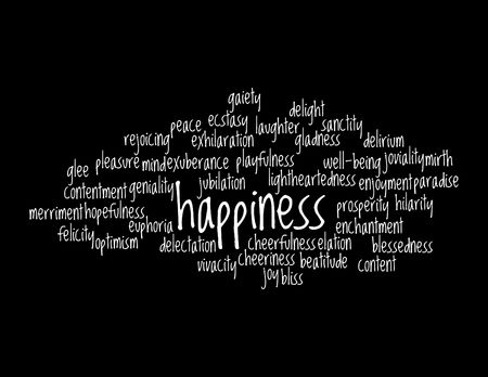 Collage of various synonyms for happiness Stock Photo - 5120780