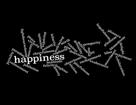 Collage of various synonyms for happiness  Stock Photo - 5120773