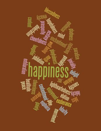 Collage of various synonyms for happiness Stock Photo - 5120776