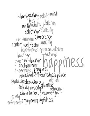 Collage of various synonyms for happiness Stock Photo - 5120782