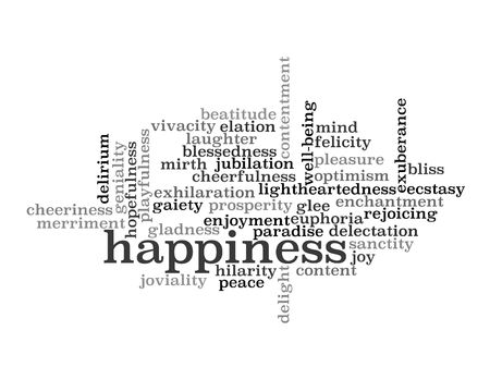 hilarity: Collage of various synonyms for happiness