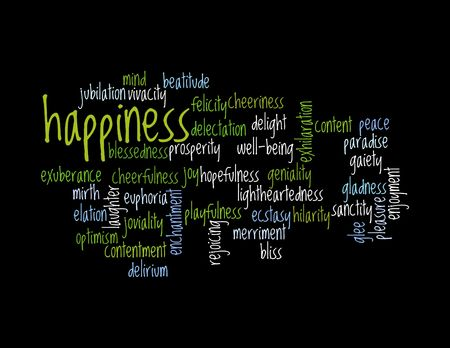 Collage of various synonyms for happiness Stock Photo - 5120775