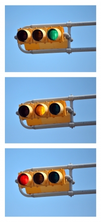 proceed: A collection of all three traffic lights - red, yellow & green