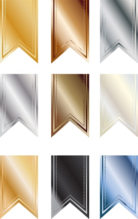 Set of 9 metallic colored pendant banners Stock Photo - 14849165