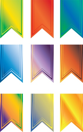 A set of multi-colored pendant banners photo
