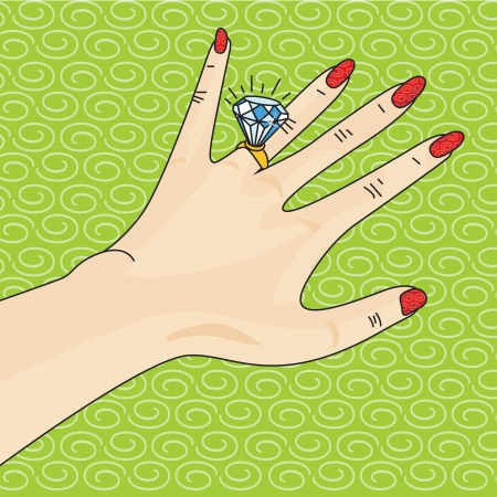 An Illustration of a Ritzy Engagement Ring Stock Photo