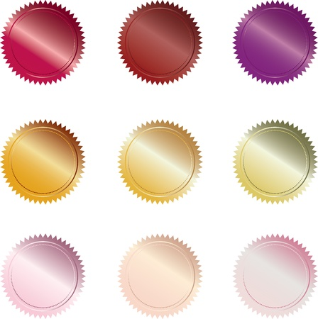 Set of 9 warm-colored seal-styled buttons photo