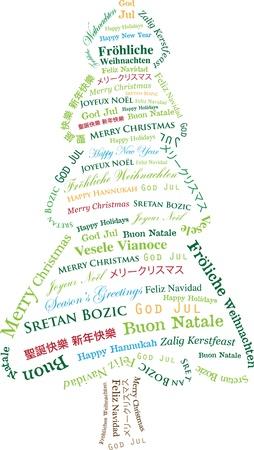 christmas greetings: Abstract Christmas Tree made of Multi-lingual Christmas Greetings Christmas Card Graphic