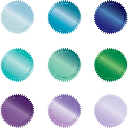 turquiose: Set of 9 cool-colored seal-style buttons