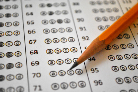 Multiple choice test concept Stock Photo