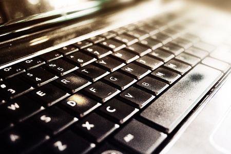 qwerty: Close up of a laptops keyboard Stock Photo