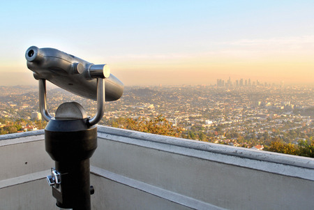 Los Angeles, California, skyline at sunset with smog Stock Photo