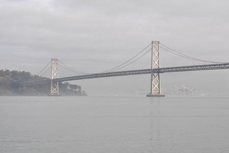 The San Francisco-Oakland Bay Bridge on a foggy day