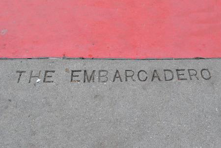The Embarcadero etched into pavement Фото со стока