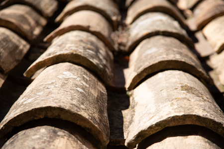 Clay roof tiles close-up in Provence