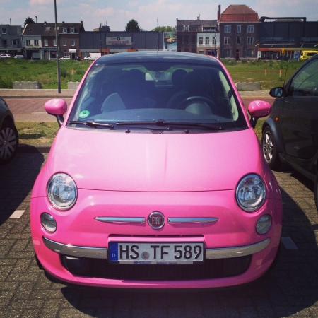 Pink funky fiat car