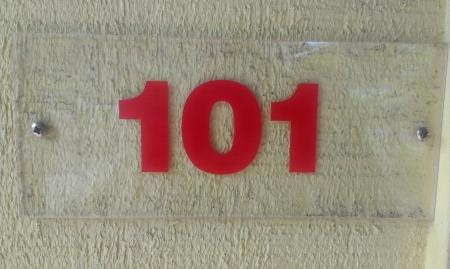 numberplate: Room 101 room number