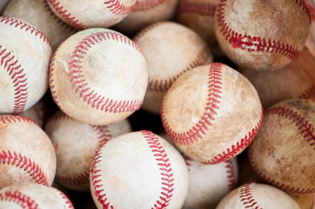 close up of old practice baseballs photo