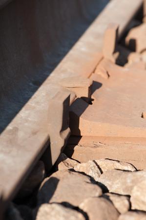 close up of railroad rail