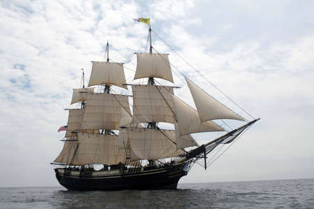 schooner: Friendship of Salem sails off of Gloucester - The Friendship of Salem is a National State Park and does not require a property release.  Stock Photo