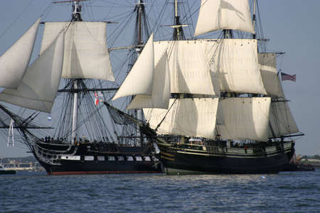 schooner: USS Constitution and Friendship of Salem Stock Photo