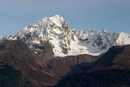 mountain peek: Mountains and Glaciers in the Kenai Peninsula, Alaska