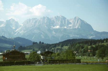 Swiss Alps and Chalet in Zermatt, Switzerland Stock Photo