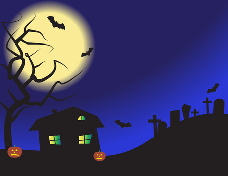 A vector illustration of a haunted house at night.