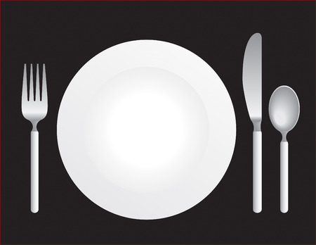 plate of food: Silverware with a plate on black background.