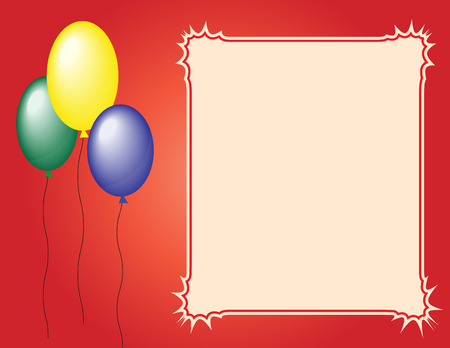 Three balloons on red  with a frame. Vector. Illustration