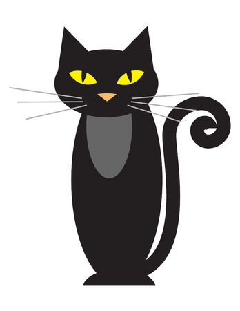 Vector illustration of a black cat on white