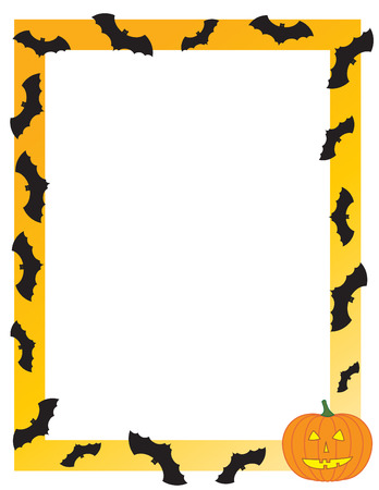 Halloween frame with bats and a pumpkin Illustration
