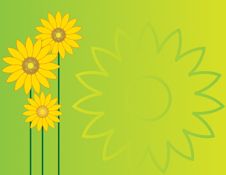 Sunflowers on a green gradient