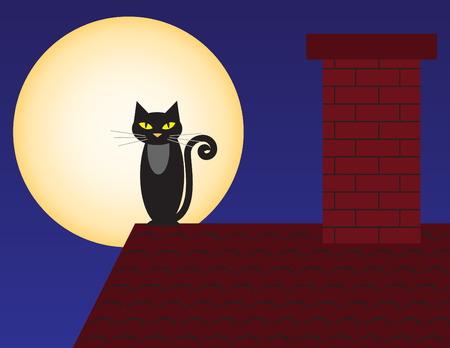 Black cat on a roof against a full moon.