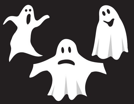 A group of three ghost. Vector illustration.