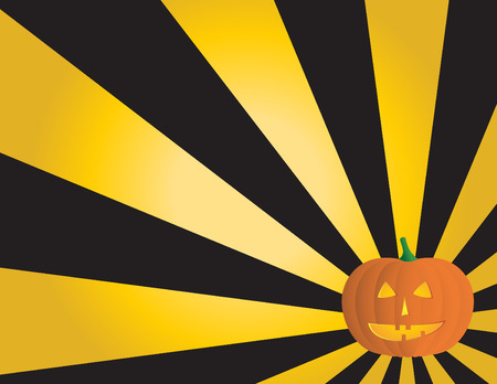 Halloween background with a pumpkin and rays. Stock Vector - 3633902