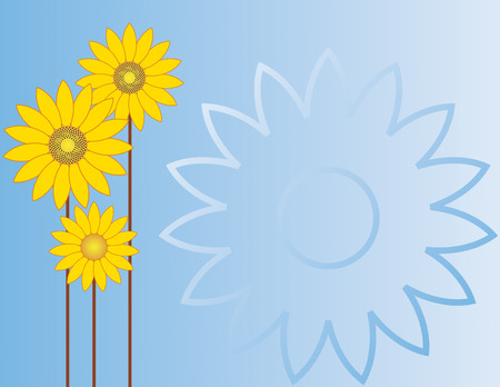 Sunflowers on a sky blue gradient background. Vector.
