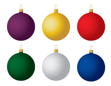 ornaments vector: Set of six Christmas ornaments. Vector.