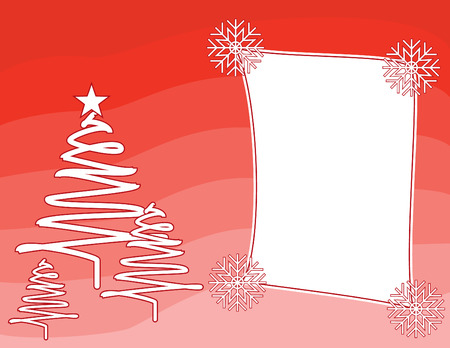 christmas greeting card: Red Christmas background vector with a frame Illustration