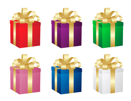 Set of six gift boxes. Vector. Vector