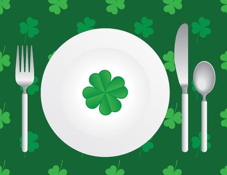 plate of food: St. Patricks Silverware
