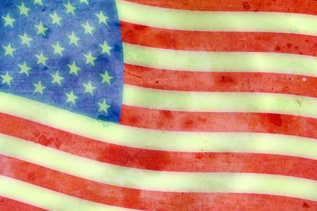 Faded American Flag in the Wind photo